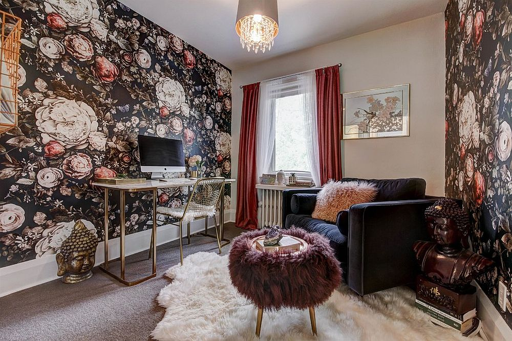 Eclectic home office with a loud wallpapered backdrop and a gold workdesk and chair