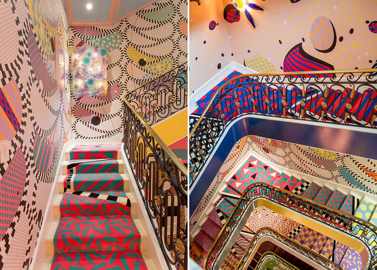 Eclectic staircase full of colorful wonder and brilliance