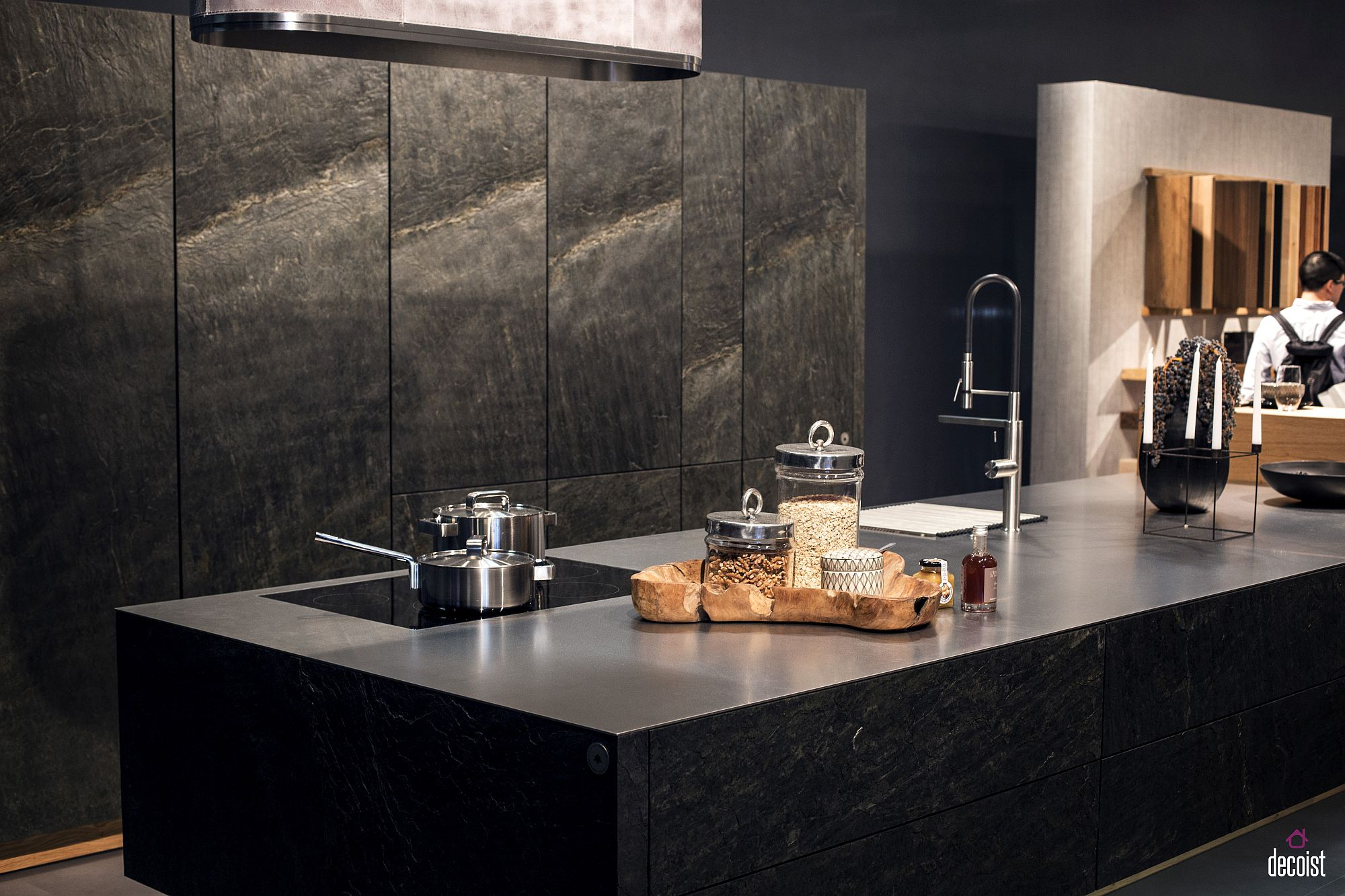 Exotic stone kitchen island ushers in black with textural beauty