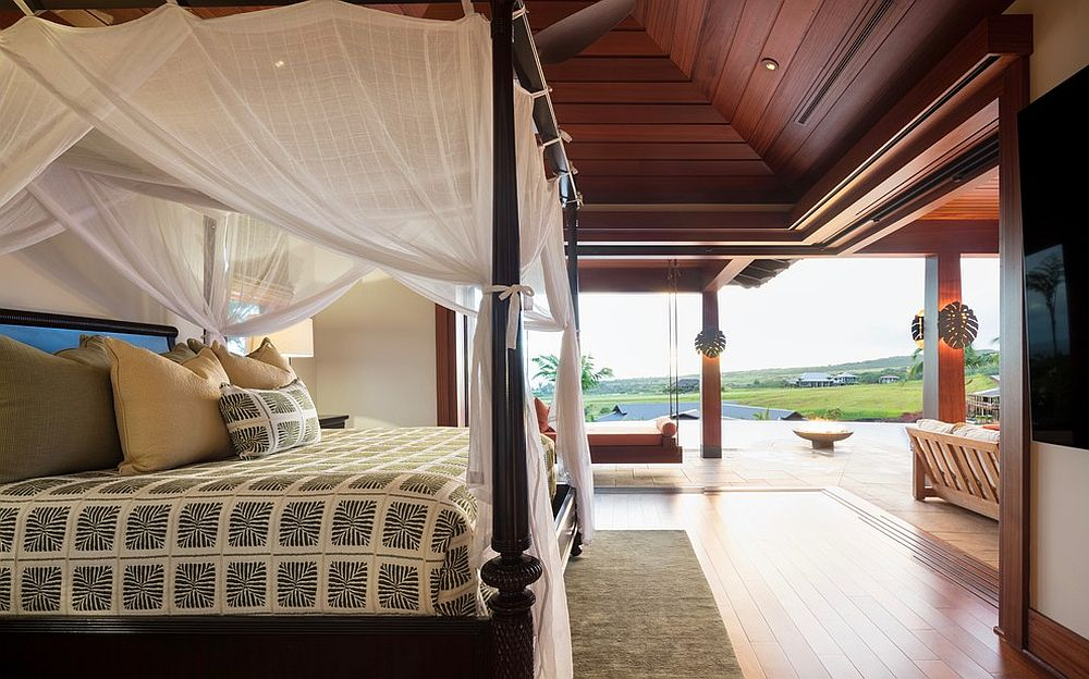 Exquisite and spacious bedroom with relaxing tropical style