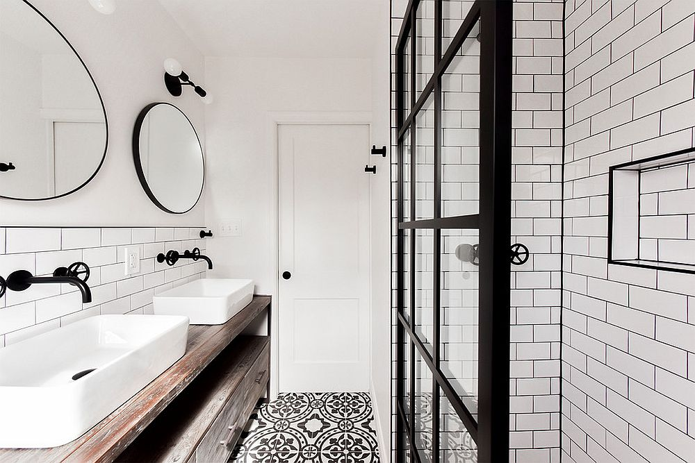 Exquisite industrial bathroom in black and white