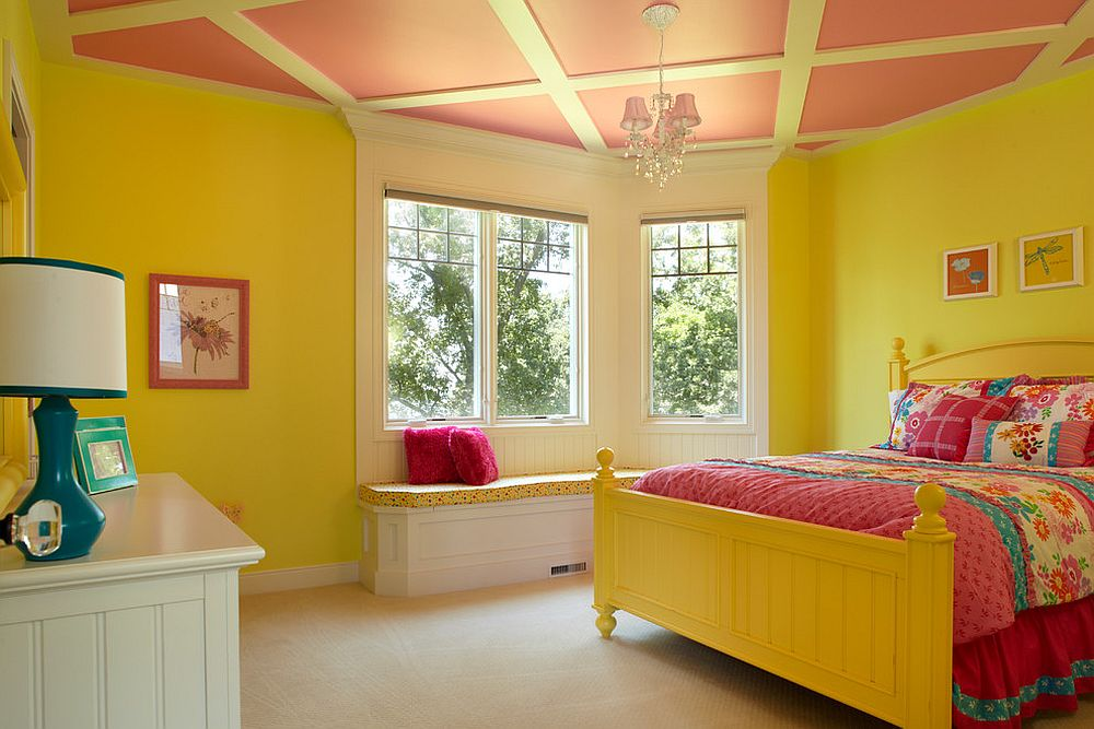 Exquisite modern kids' bedroom in yellow and pink