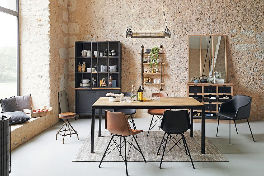 Fabulous-dining-room-combines-textured-walls-with-hint-of-Scandinavian-style