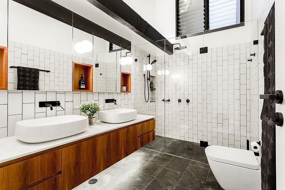 Floating wooden vanity for the black and white bathroom