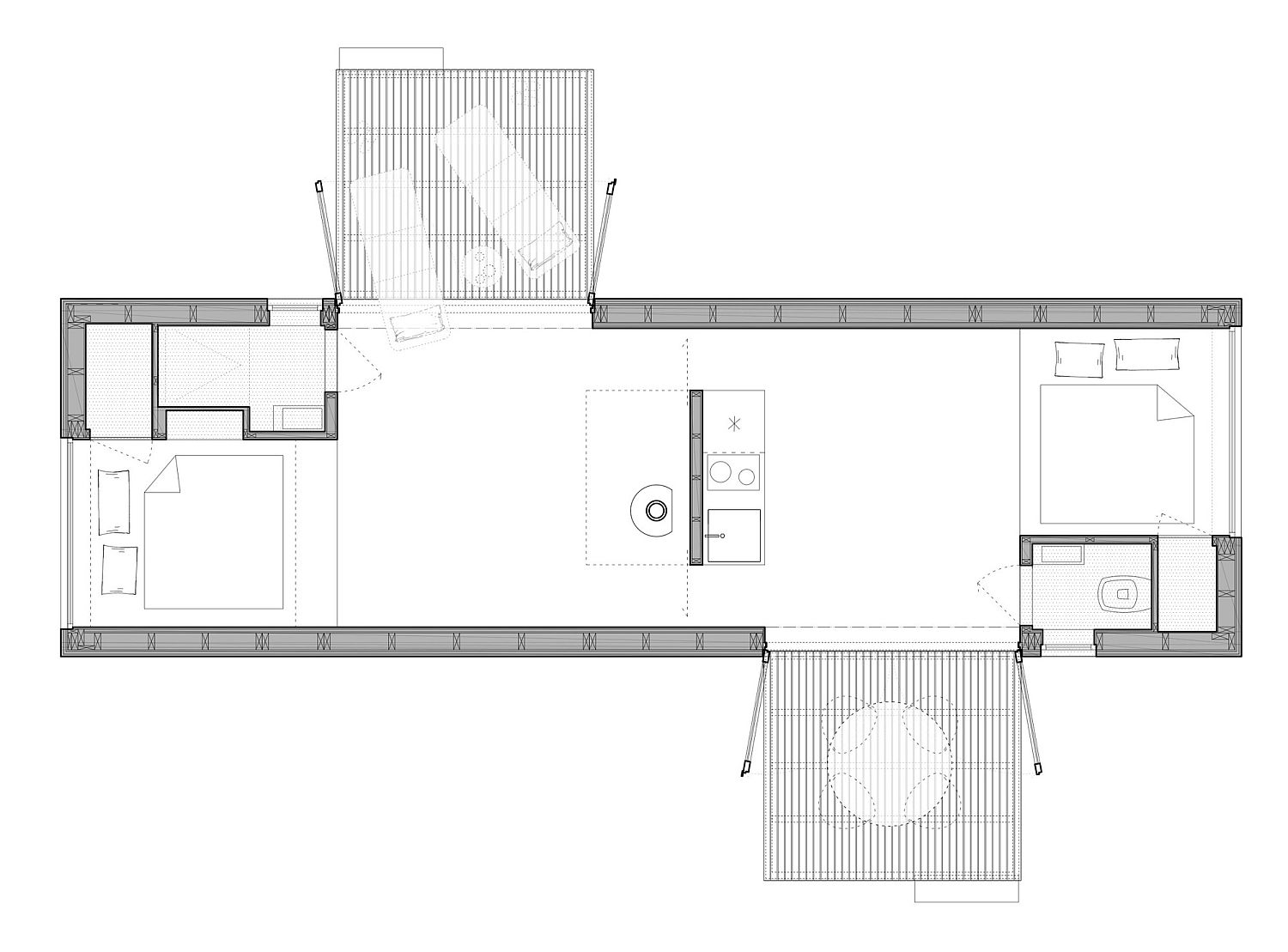 Floor plan of 3 Cabins in Belgium