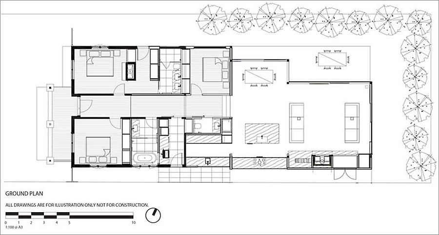 Floor plan of renovated Californian bungalow in Melbourne