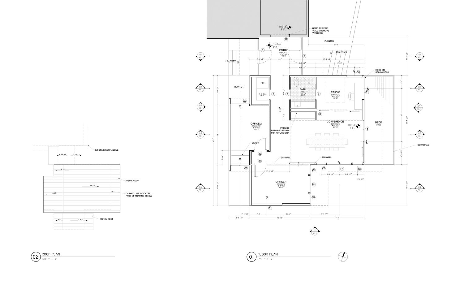 Floor plan of the Creekbluff Studio after the home office addition