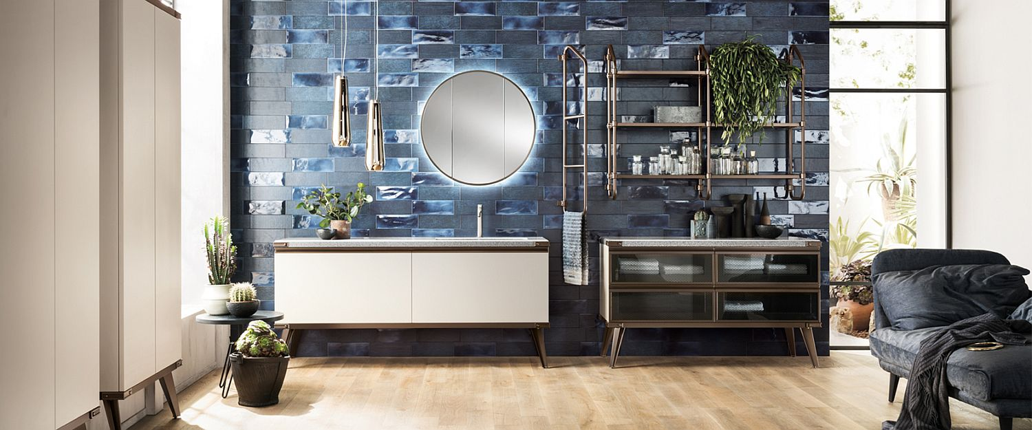 Gorgeous contemporary industrial bathroom in blue and white