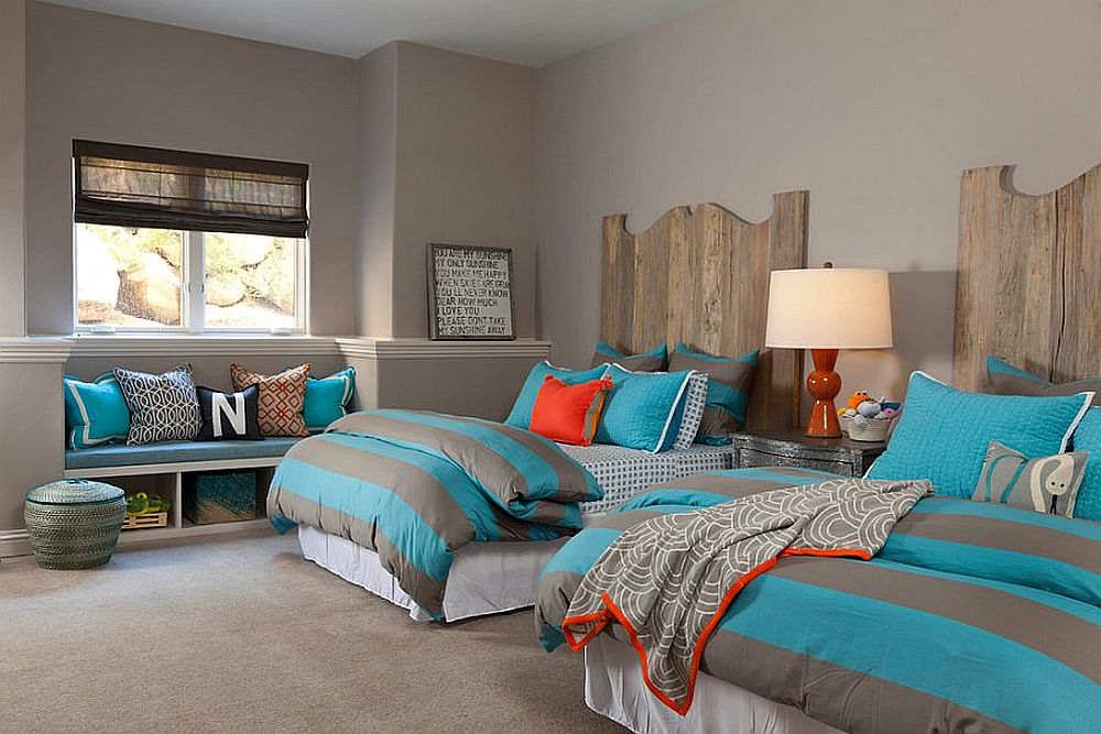 Gray-and-blue-bedding-for-the-modern-rustic-bedroom
