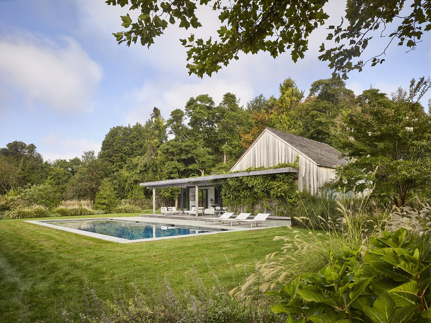Greenery around the house adds to the ambiance of the pool house
