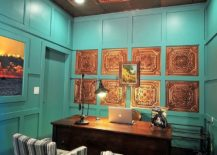 Home-office-with-a-gorgeous-copper-ceiling-is-a-showstopper-217x155