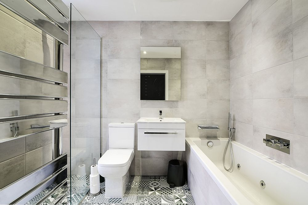 Industrial bathroom in black and white with patterned tiles