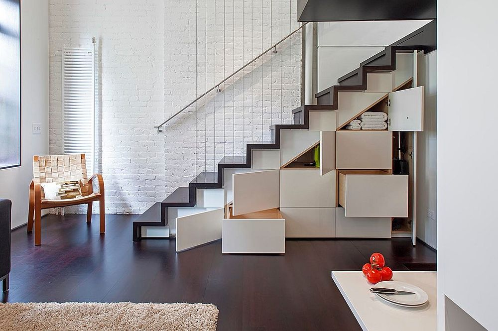 Industrial staircase offers multiple storage options