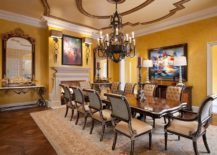 Inviting-dining-room-with-a-lovely-fireplace-and-decor-that-highlights-beauty-of-iron-217x155