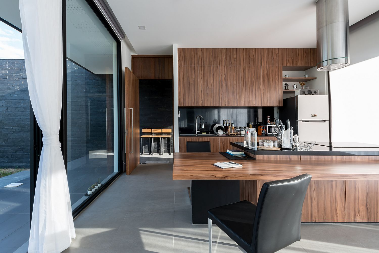 Kitchen and wood inside the the modern kitchen