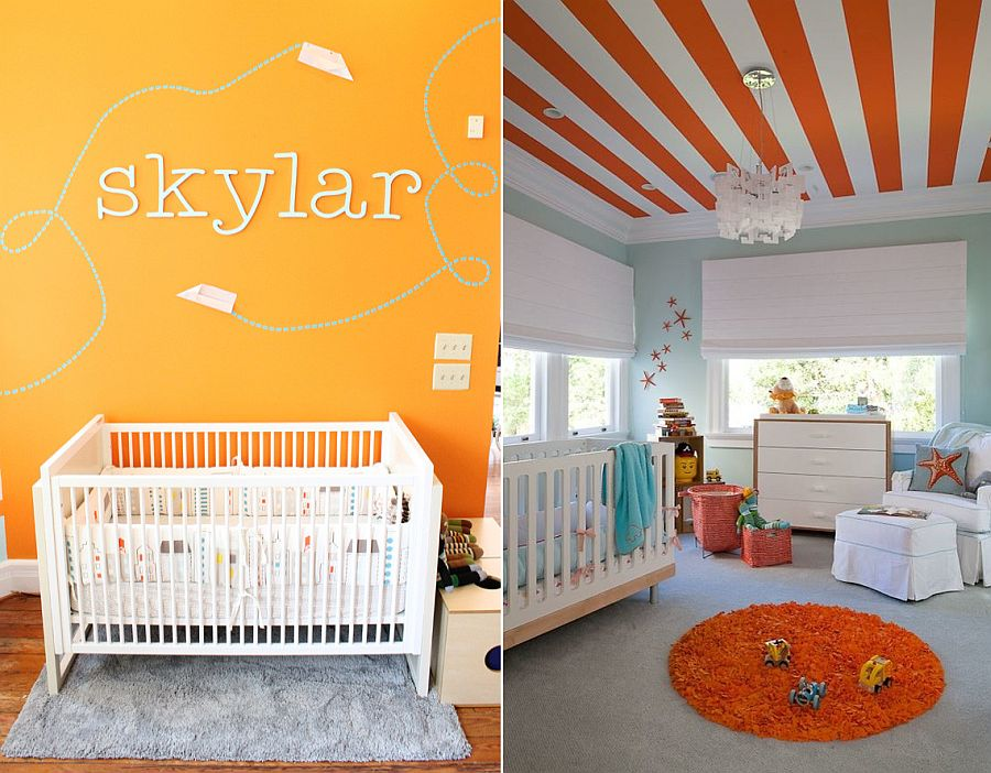 Light-blue-coastal-themed-nursery-with-striped-ceiling