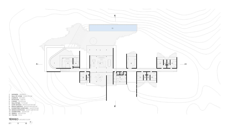 Lower level floor plan of Casa Terra