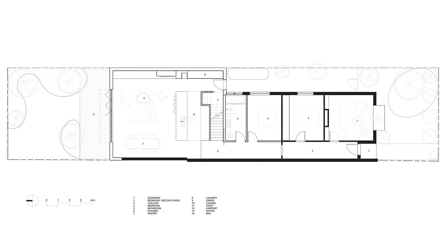 Lower level floor plan of St Kilda East House