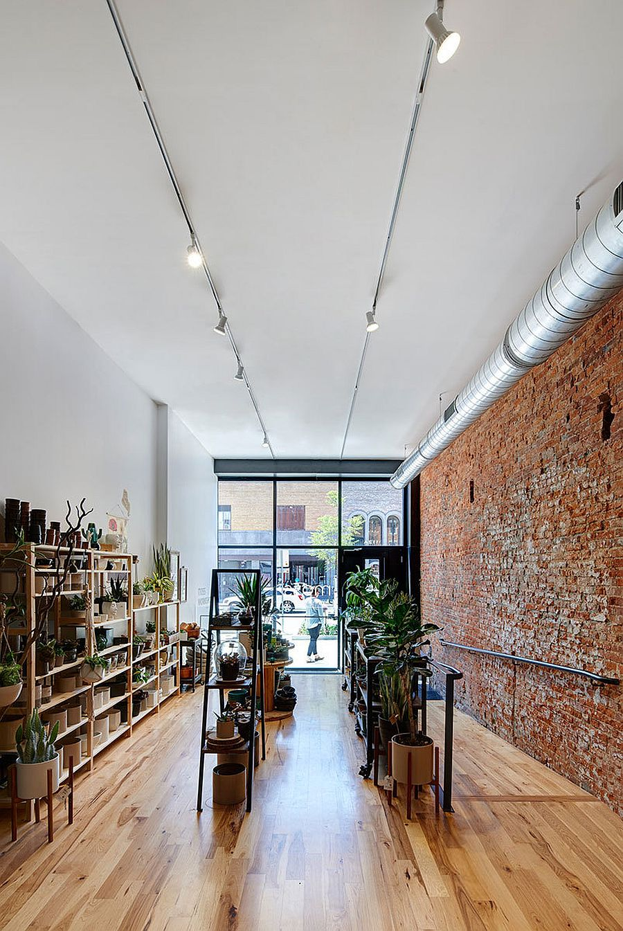 Lower level of the Industrial storefront filled with greenery