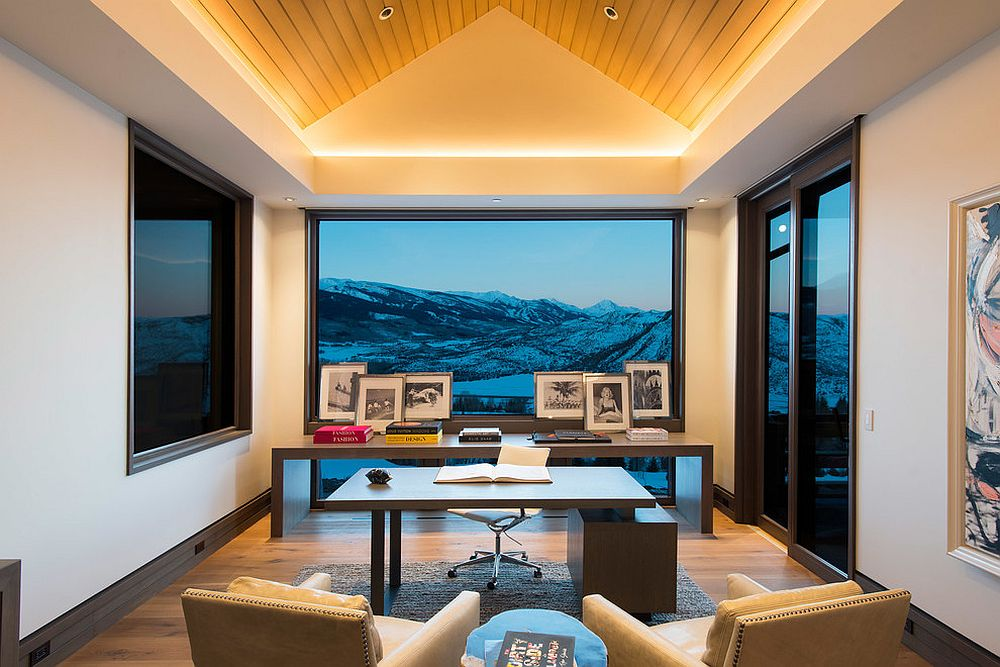 Magnificent contemporary home office with impressive mountain views