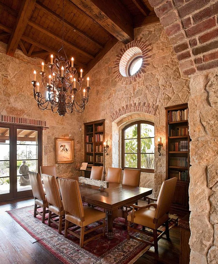 Mediterranean dining room with walls that offer plenty of texture