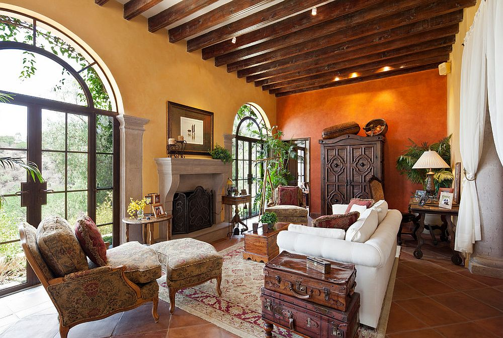 Mediterranean living room with orange and yellow walls