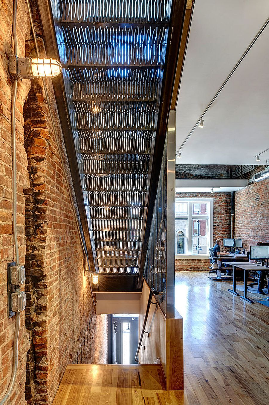 Metal brick and wood interior of the office space