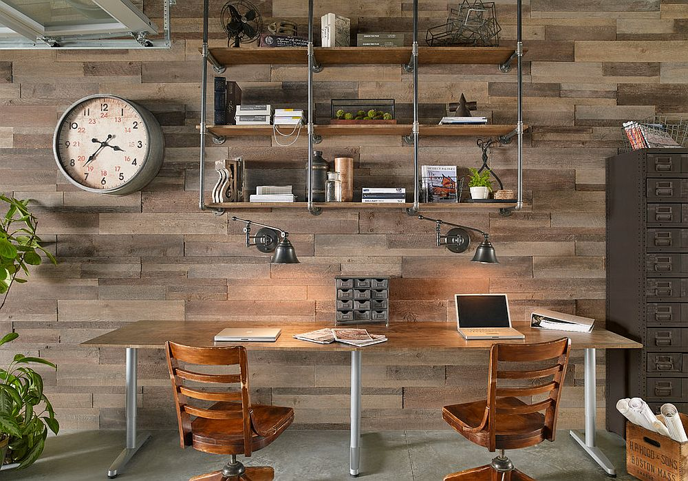 Metal pipes and wood create a cool bookshelf for the smart home office