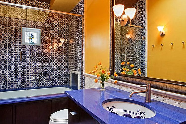 Modern Mediterranean bathroom in yellow and blue with plenty of pattern