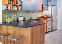Modern-kitchen-with-blue-and-orange-cabinets-217x155