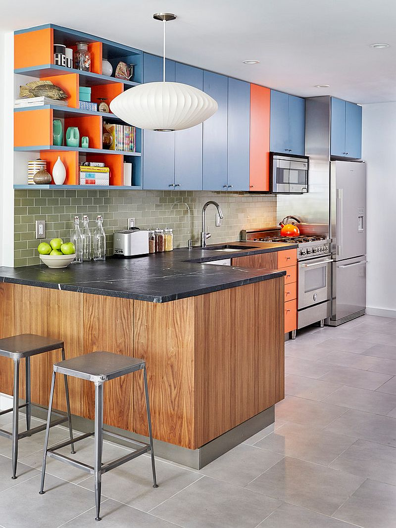 Modern-kitchen-with-blue-and-orange-cabinets