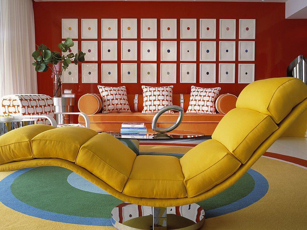 Modern living room in orange, yellow and red