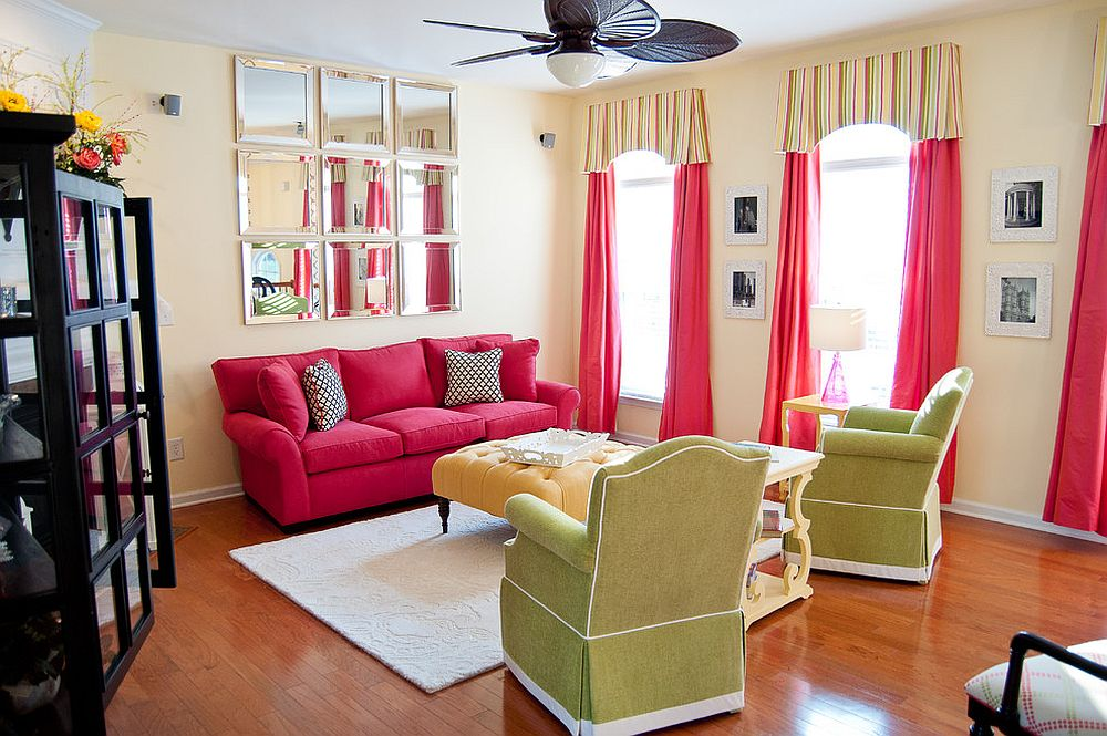 Modern living room in yellow and pink with a hint of green thrown in