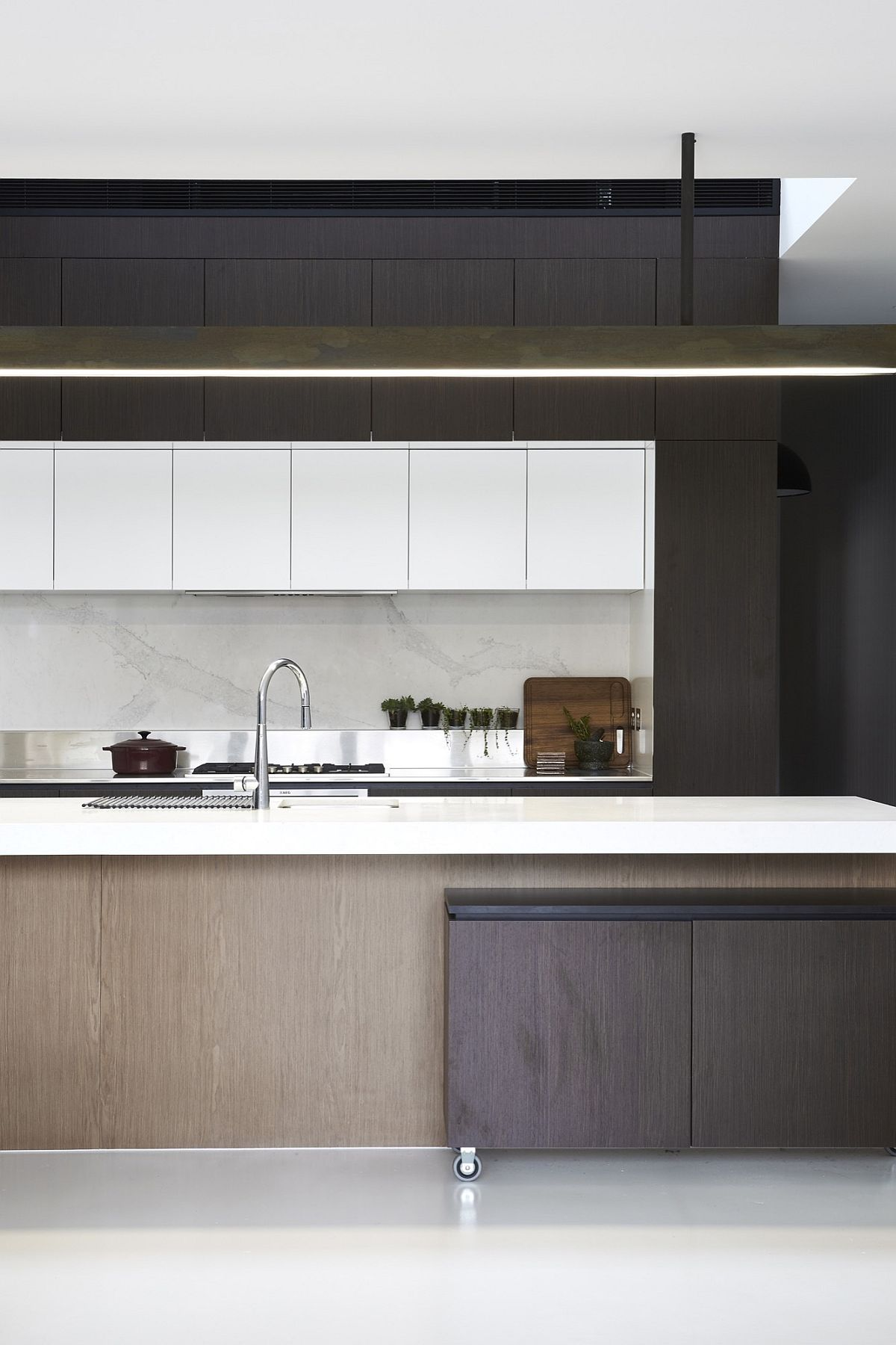 Modern minimal kitchen with ample shelf space