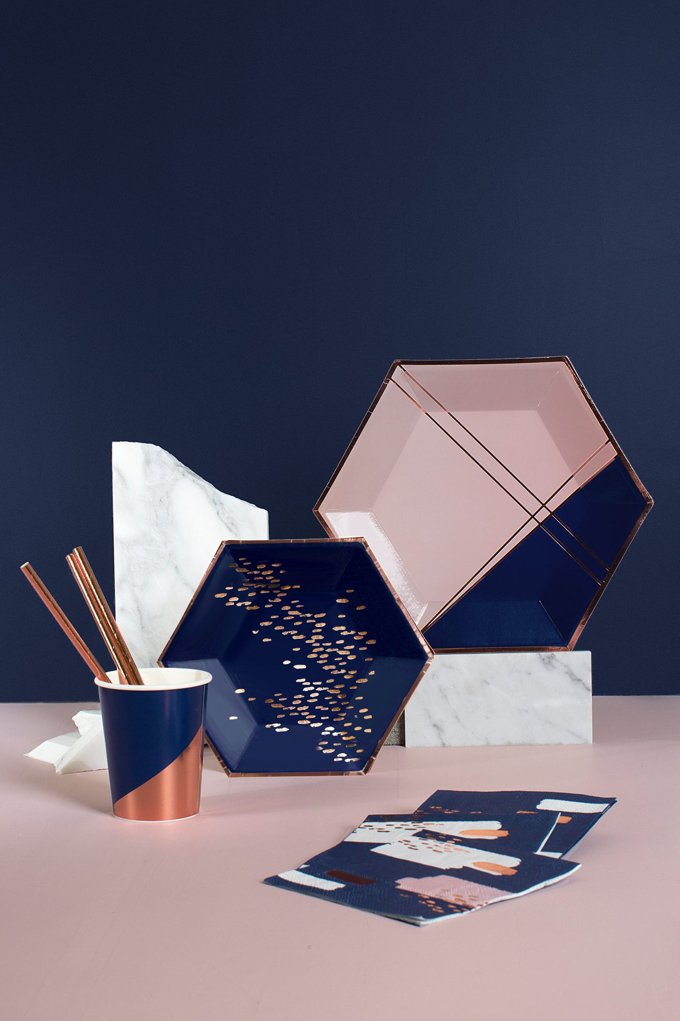 Modern navy and pink party goods by Harlow & Grey