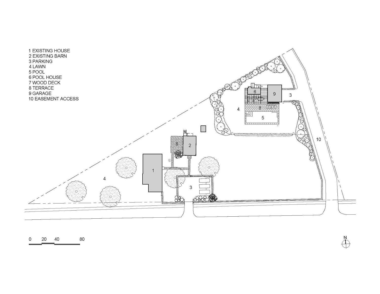 Modern pool house floor plan