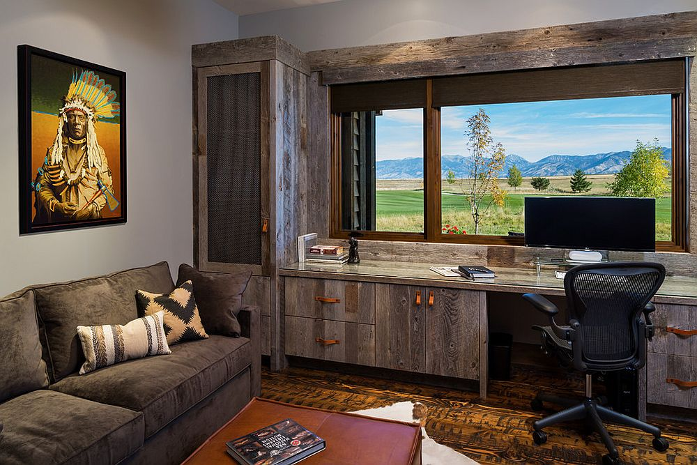 Modern rustic home office with wooden shelving, cabinets and lovely mountain views