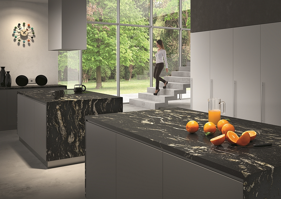 Natural stone brings black and shades of gray to this kitchen