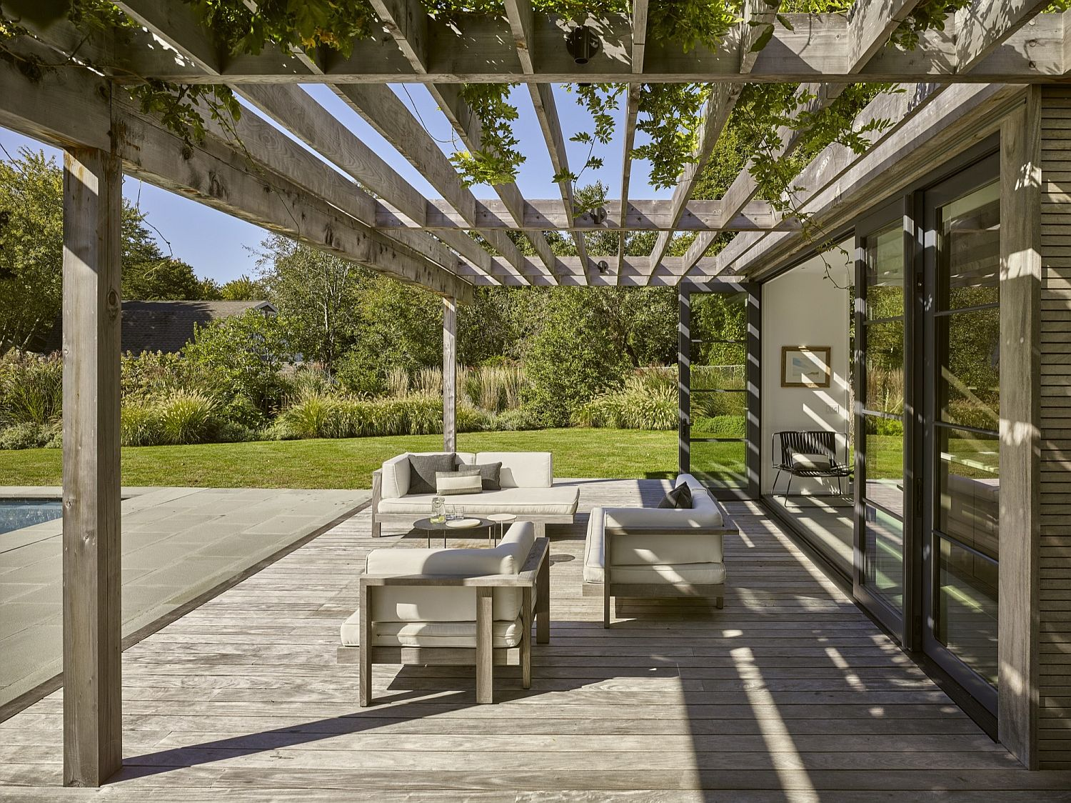Natural wood pergola with cool shade