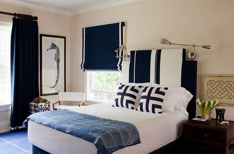 Nautical bedroom in navy blue and white