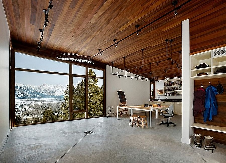 Open home office with beautiful mountain views