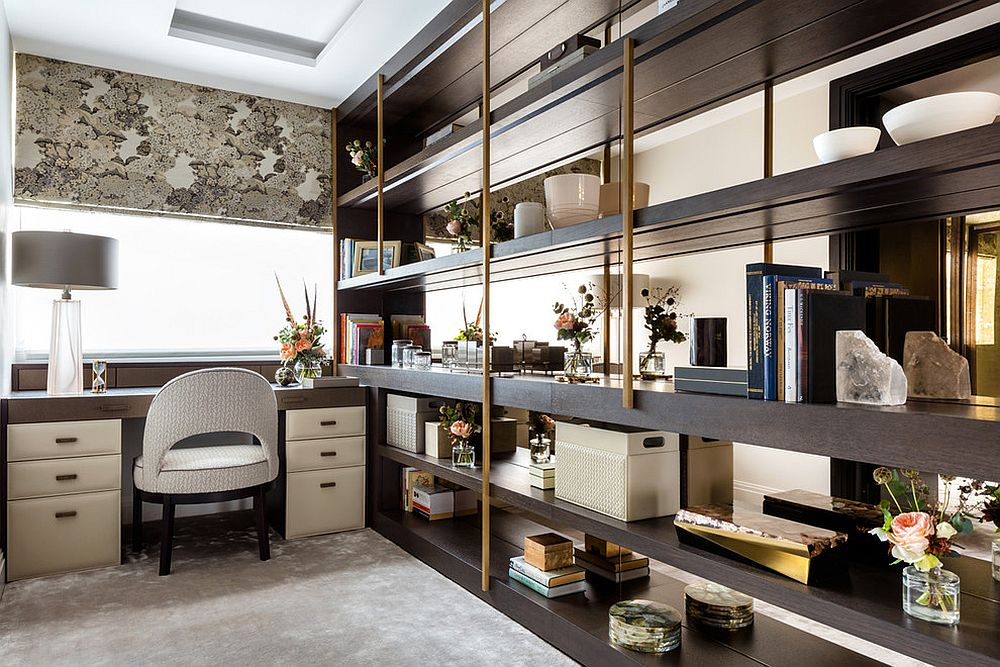 Open shelves with metallic bars are a hit in the home office