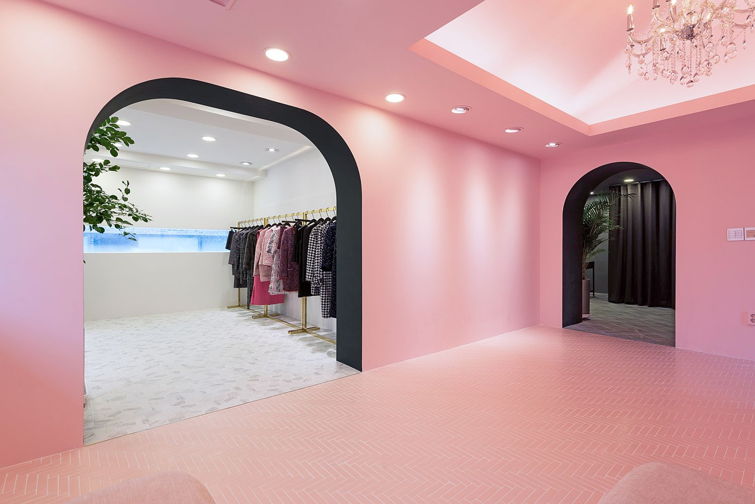 Pink entry of the AWW showroom is a showstopper