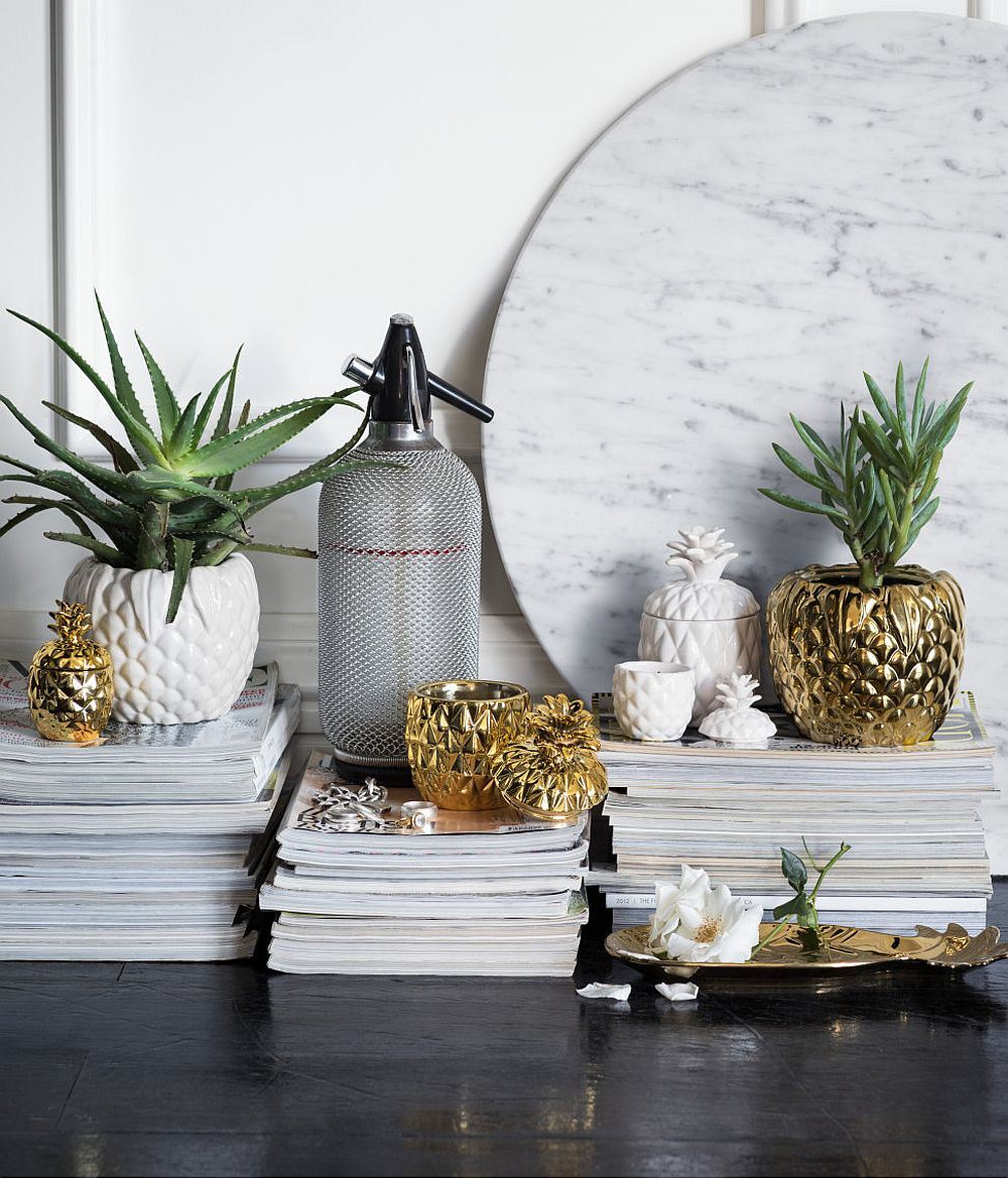 Planters and vases with chic tropical flair for the bedside table