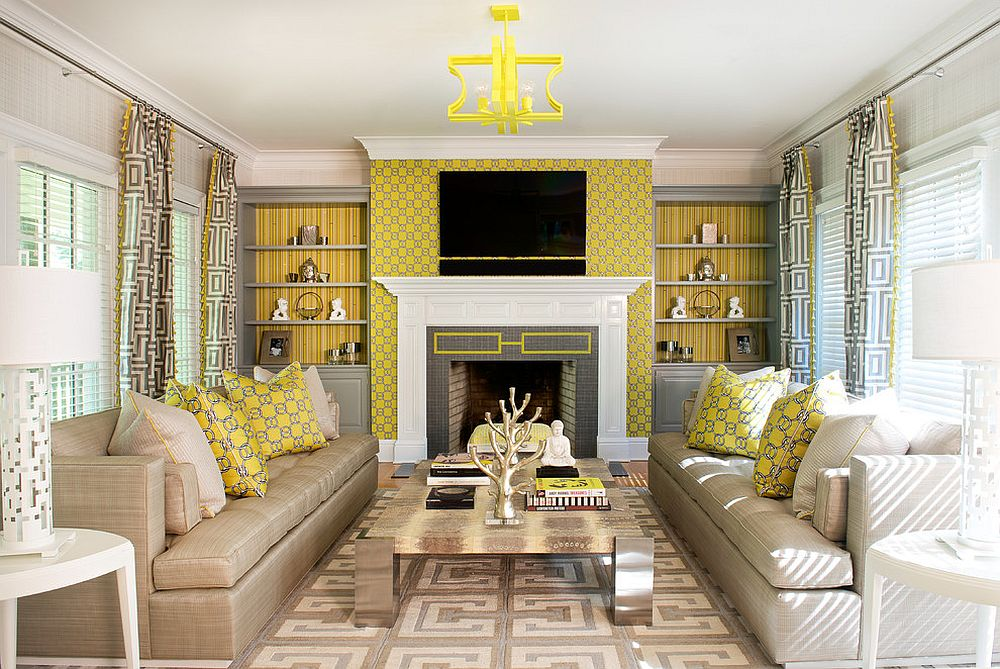 Polished contemporary living room in gray, yellow and white