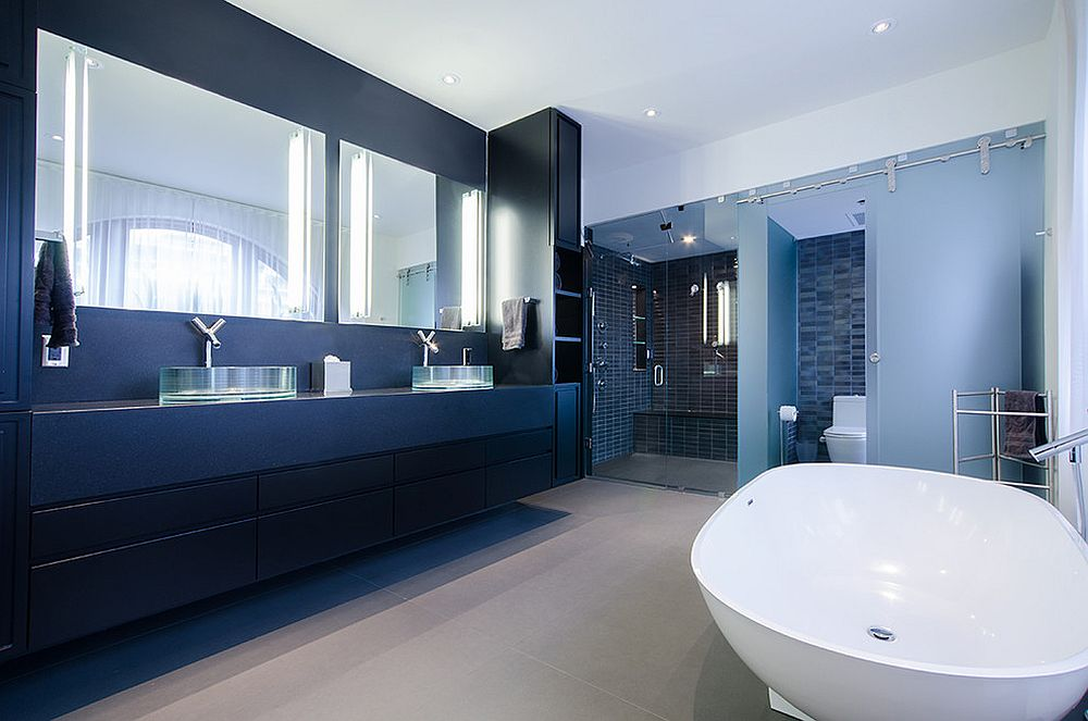 Polished industrial bathroom in white and blue