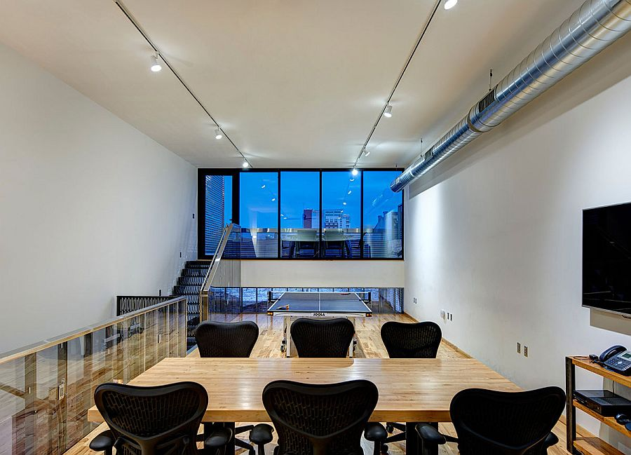 Polished upper level office space inside the industrial building