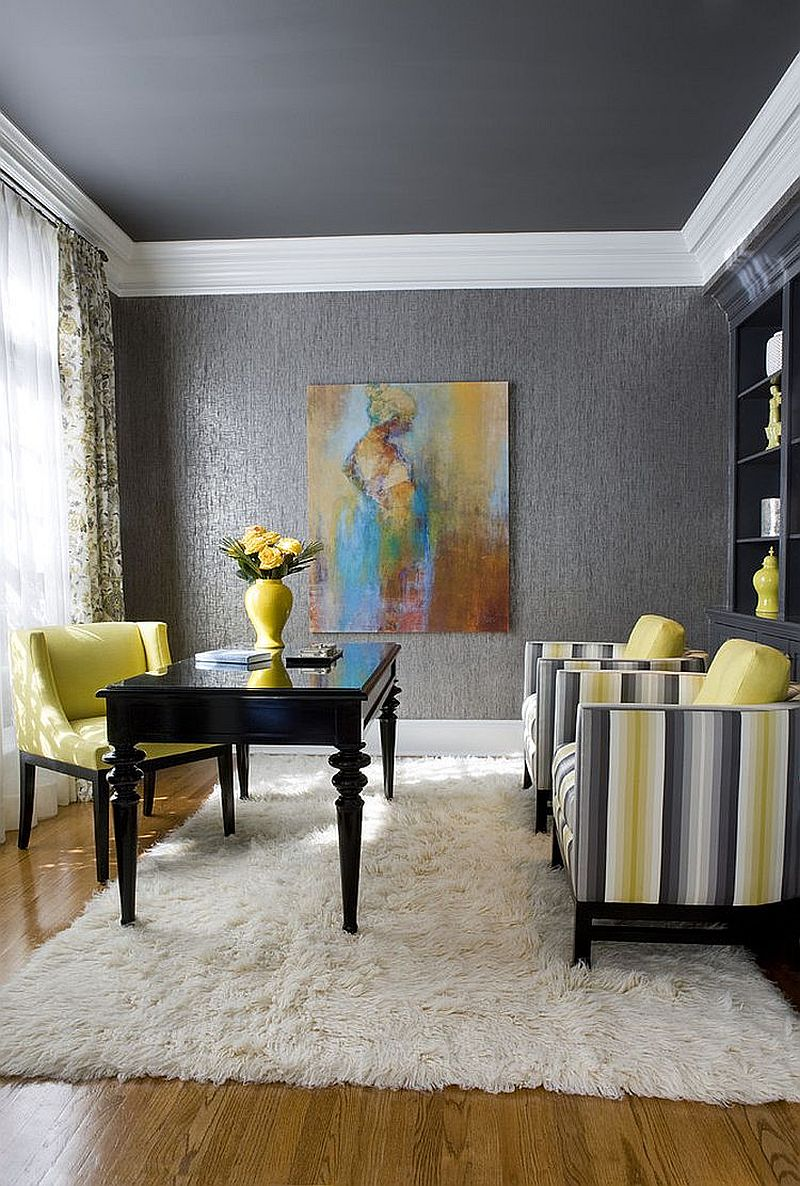 Posh home offfice in gray and yellow