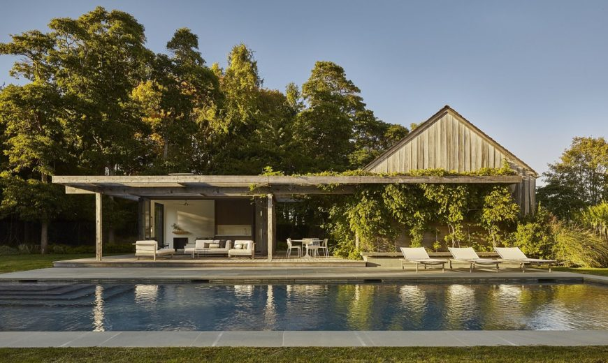 Contemporary Space-Savvy Pool House Draped in Green Goodness