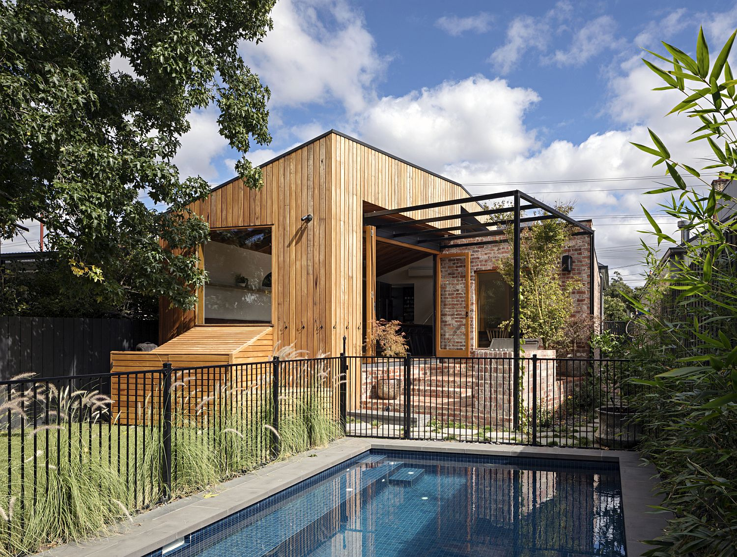 Revamped timber and brick exterior of the home